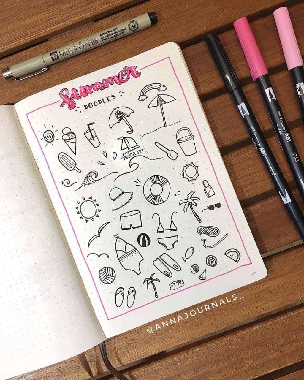 Summer Bullet Journal Doodles by @annajournals | Masha Plans