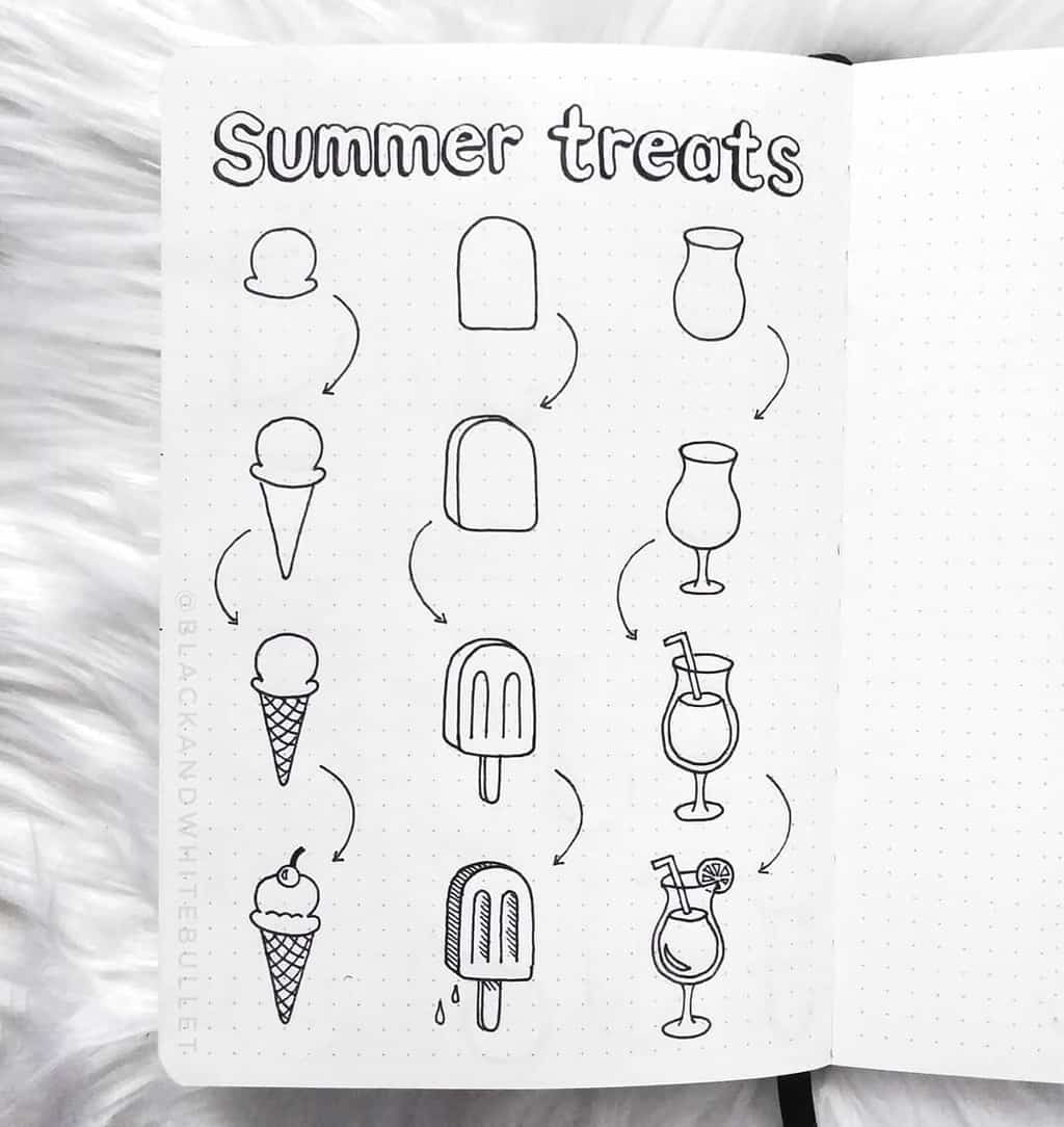 Summer Bullet Journal Doodles by @blackandwhitebullet | Masha Plans