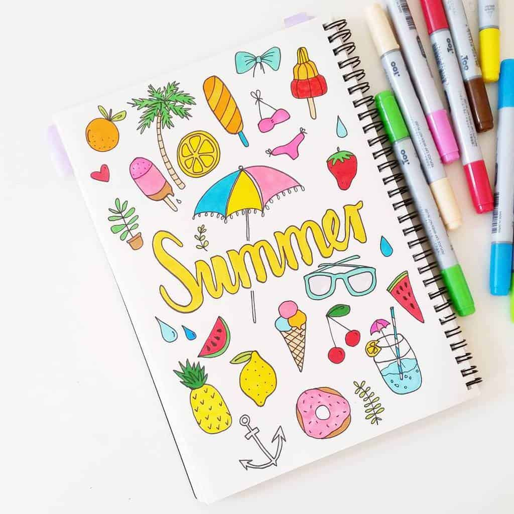 Summer Bullet Journal Doodles by @luloveshandmade | Masha Plans