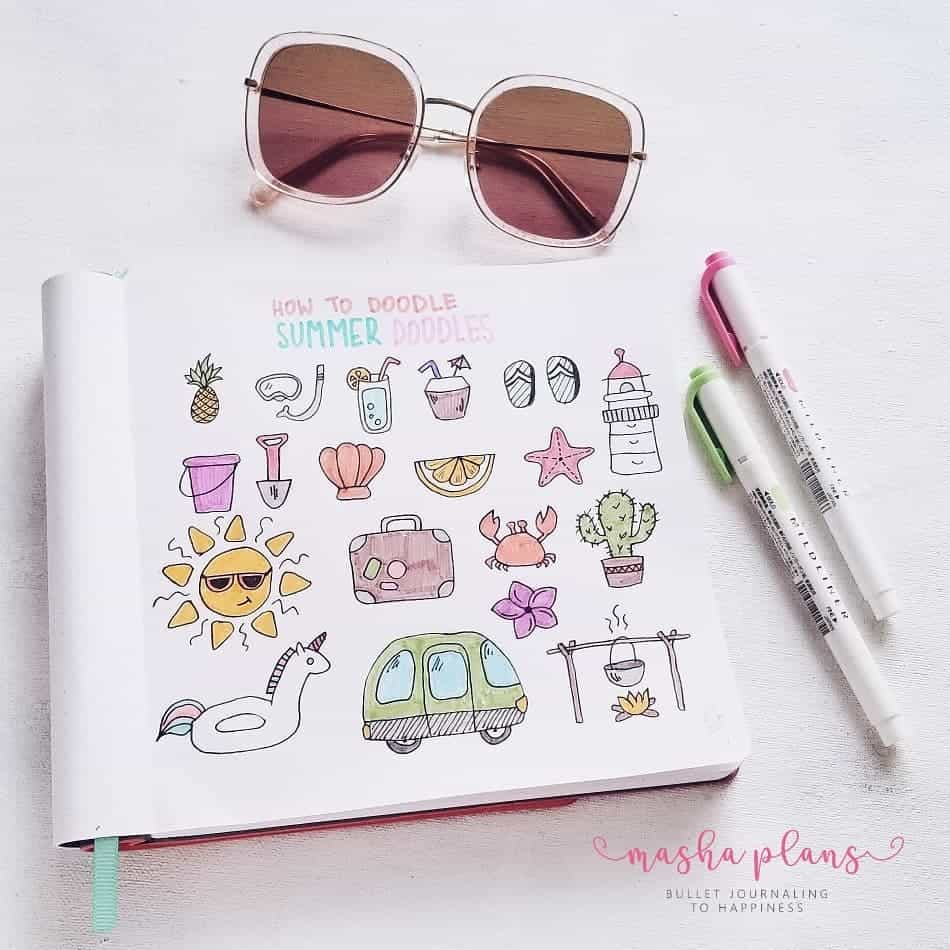 Summer Bullet Journal Doodles | Masha Plans