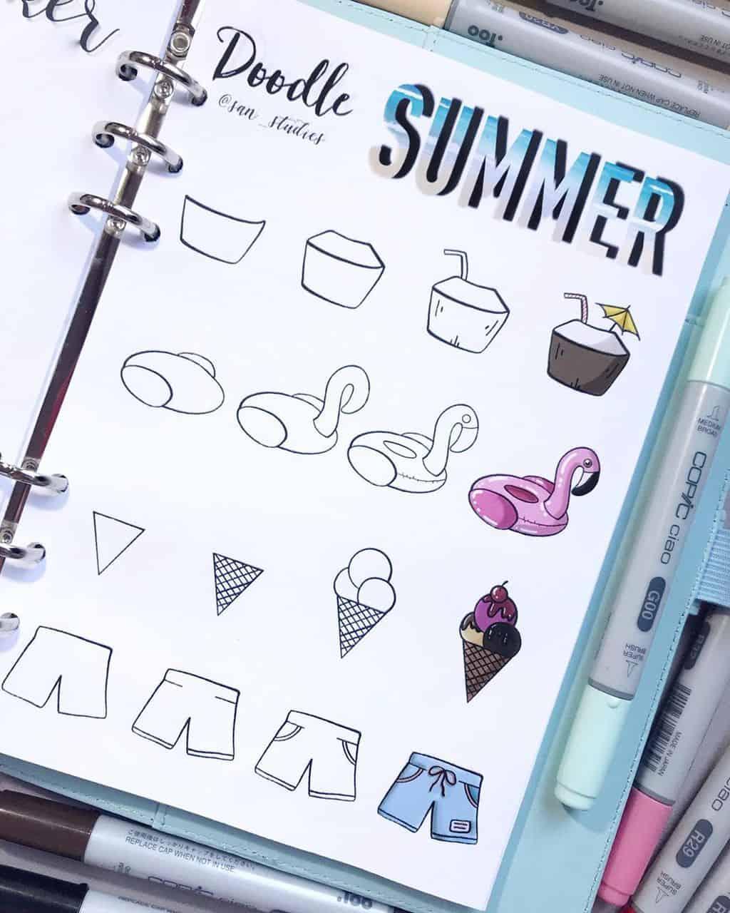 Summer Bullet Journal Doodles by @san_studies | Masha Plans