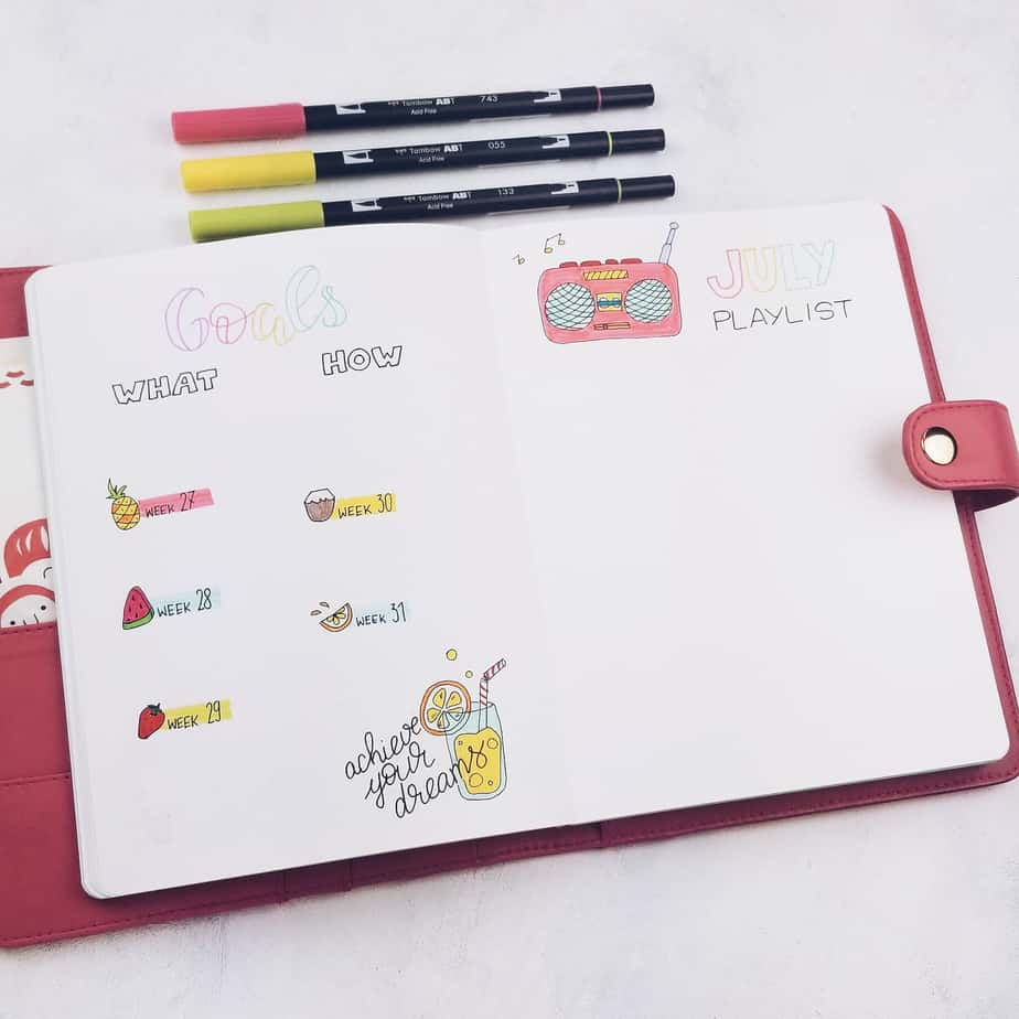 Summer Bullet Journal Setup: July Plan With Me, monthly goals | Masha Plans