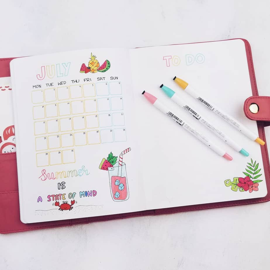 Summer Bullet Journal Setup: July Plan With Me, monthly log | Masha Plans