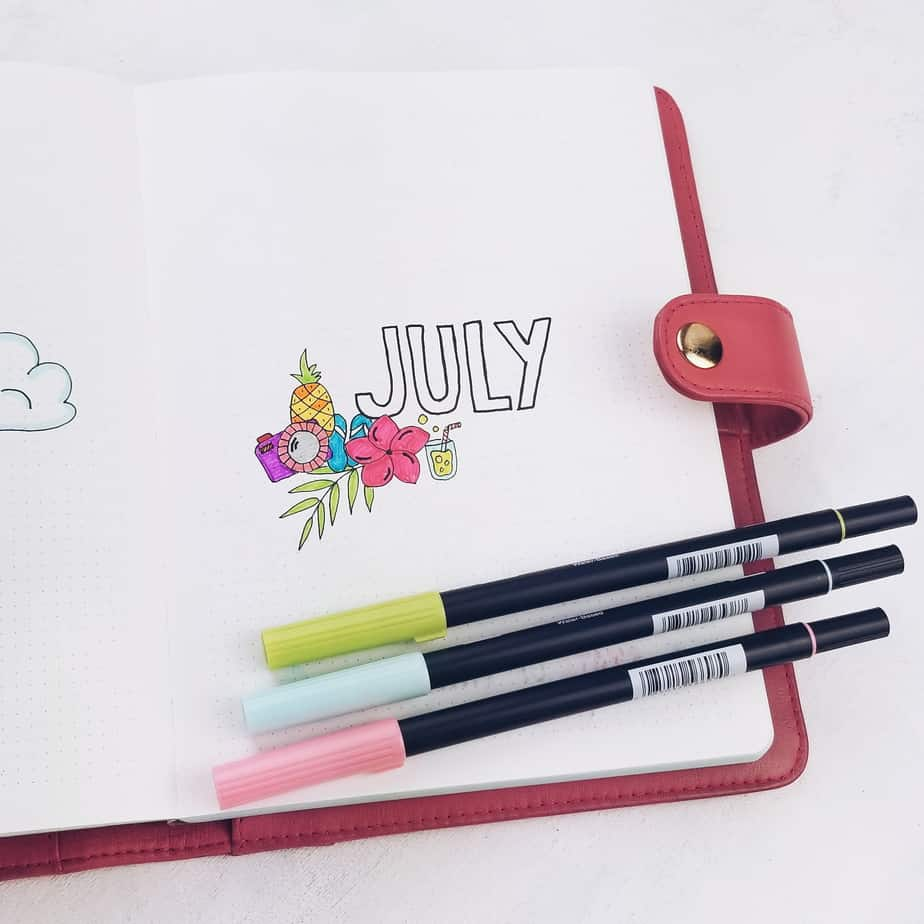 Summer Bullet Journal Setup: July Plan With Me, cover page | Masha Plans