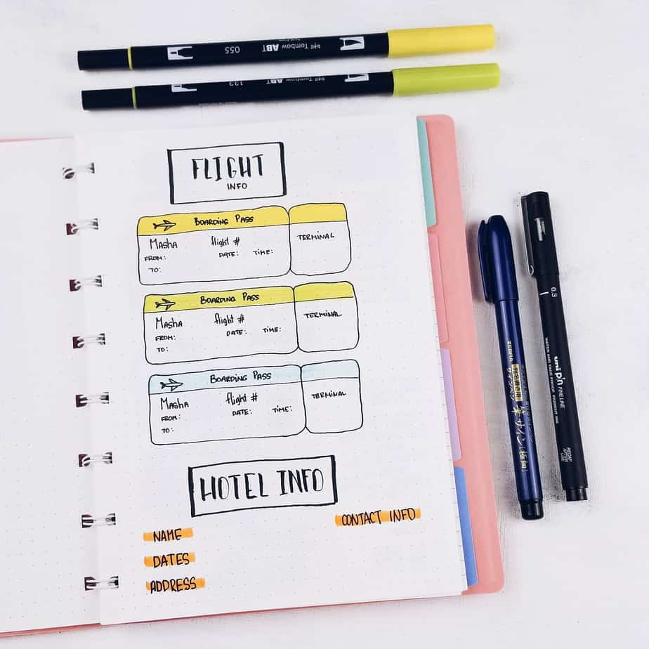 Plan With Me: Travel Bullet Journal Setup, Flight Information | Masha Plans