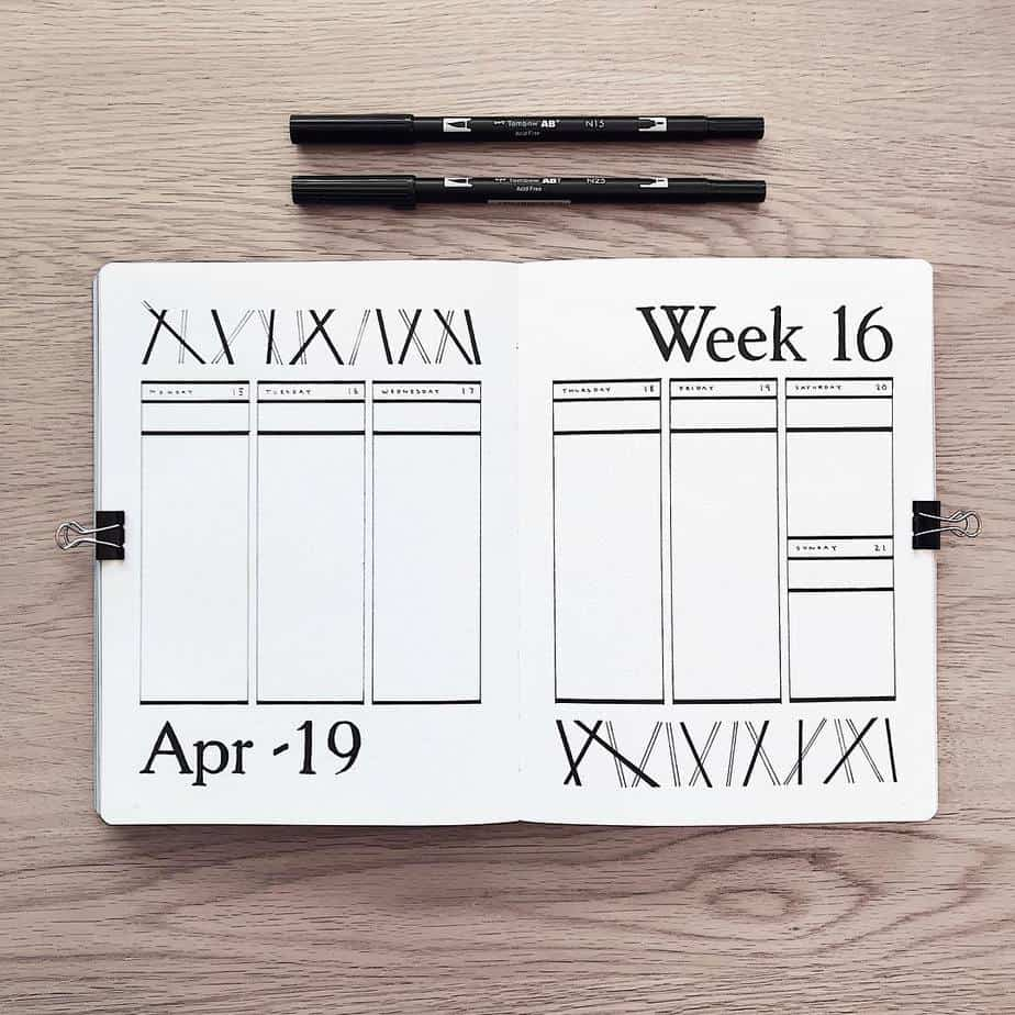 How To Bullet Journal When You Don't Have Time, spread by @supermassiveblackink | Masha Plans