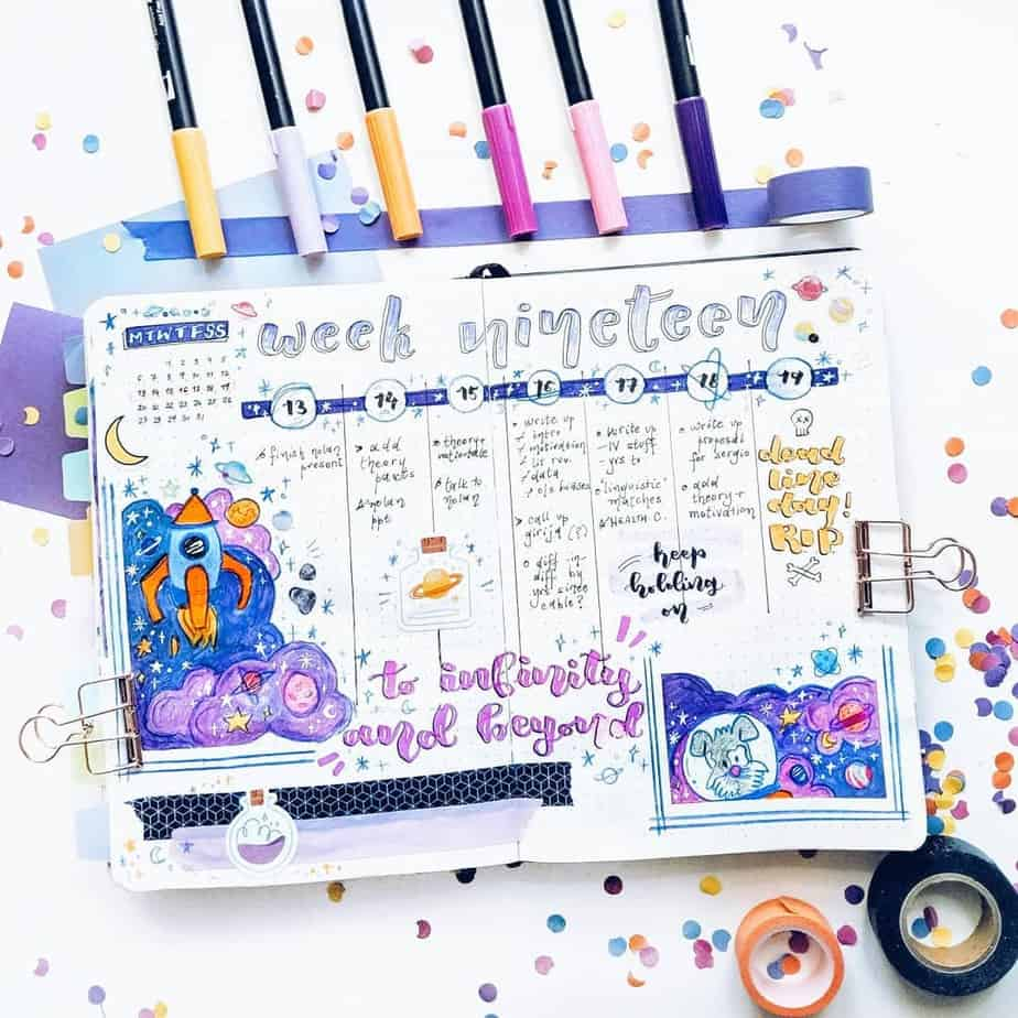 13 Genius Washi Tape Ideas For Your Bullet Journal, spread by @mrinjournals | Masha Plans