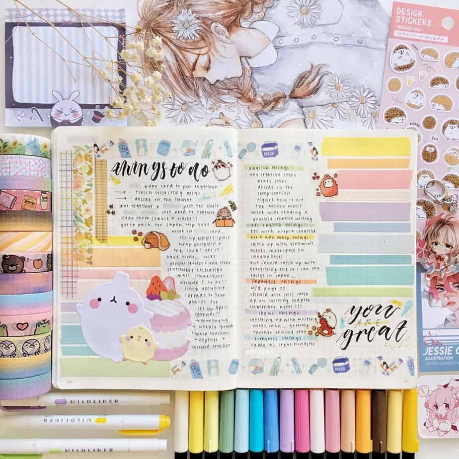 13 Genius Washi Tape Ideas For Your Bullet Journal, spread by @selenenen | Masha Plans