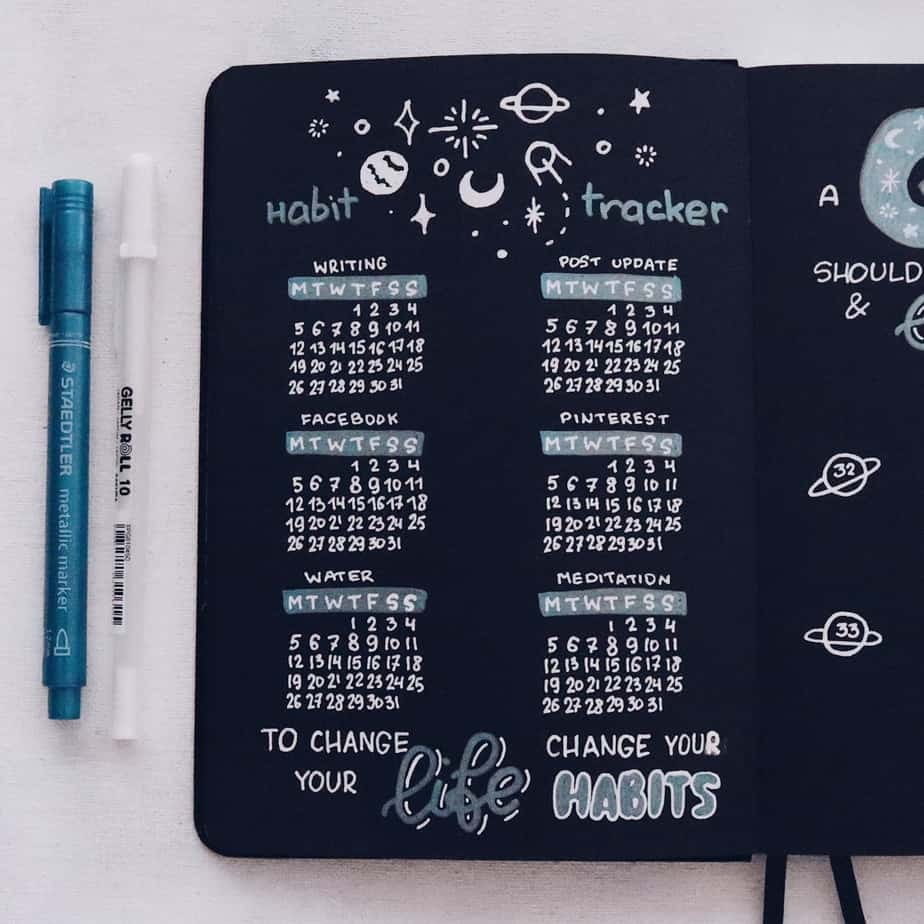 How To Start And Use Archer & Olive Blackout Bullet Journal, Bullet Journal Spread| Masha Plans