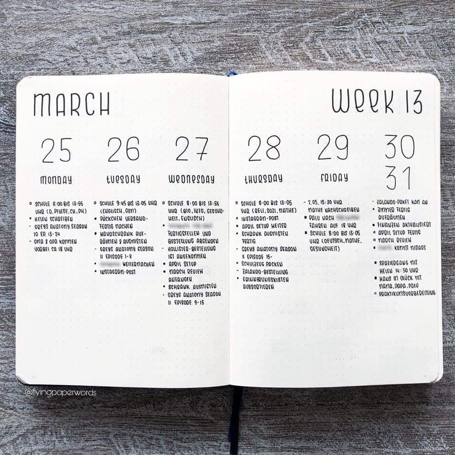 How To Bullet Journal When You Don't Have Time, spread by @flyingpaperwords | Masha Plans