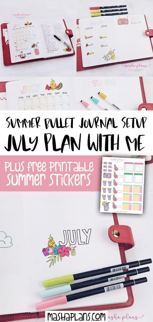Summer Bullet Journal Setup: July Plan With Me | Masha Plans
