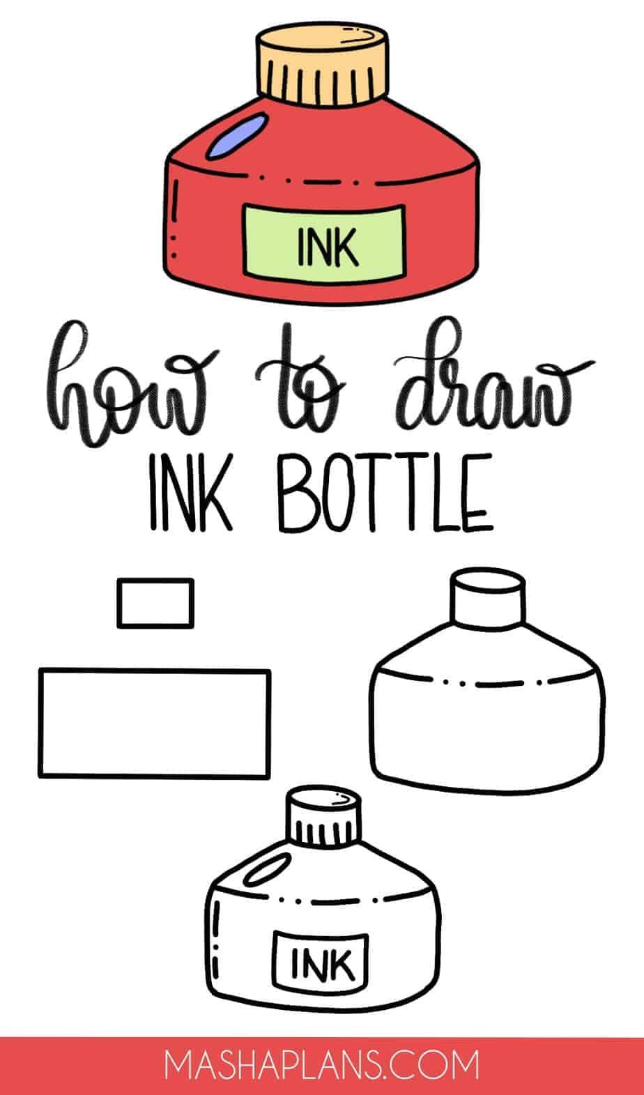 Cute and Easy Stationery Bullet Journal Doodles, Ink Bottle | Masha Plans
