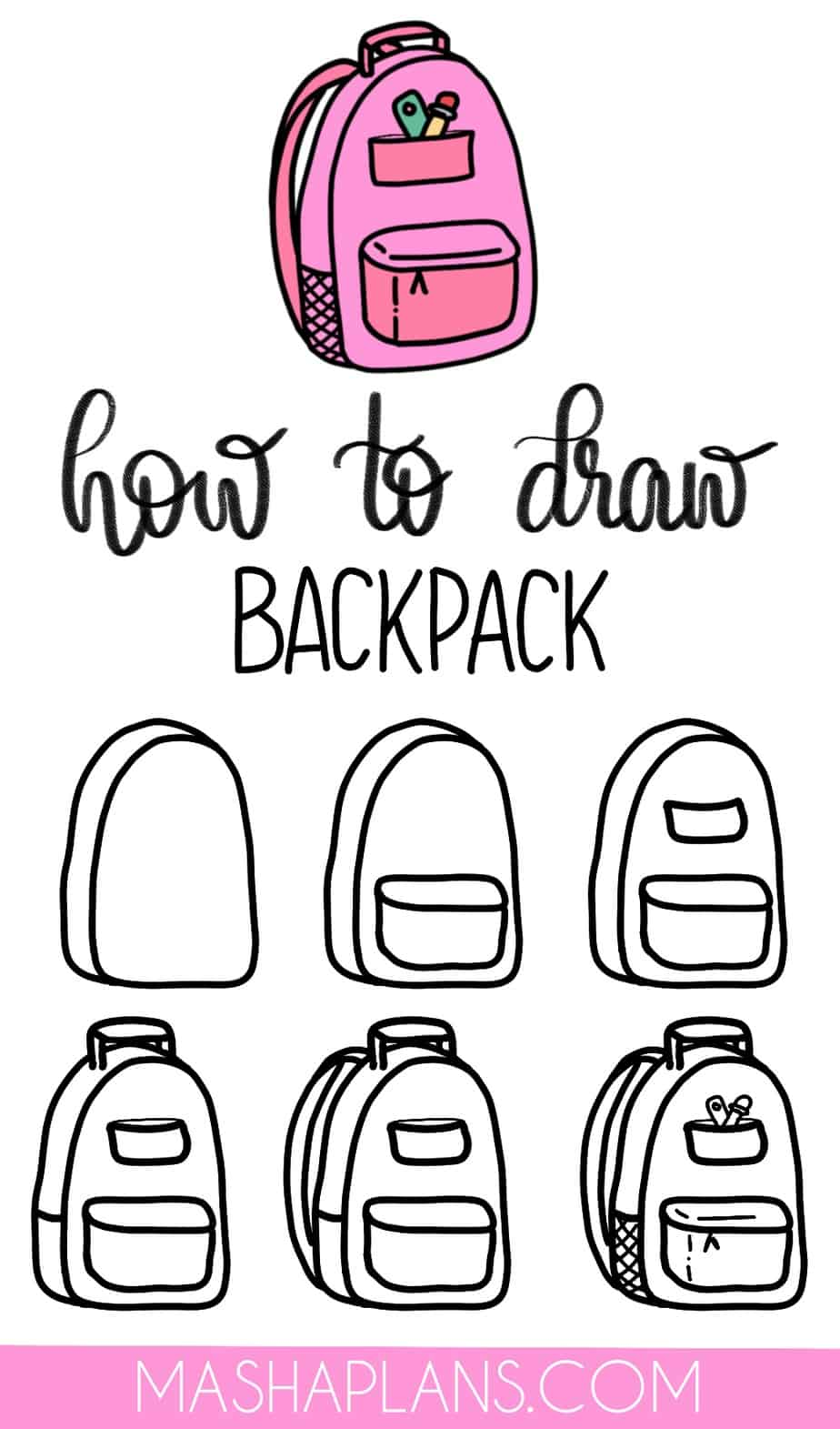 Cute and Easy Stationery Bullet Journal Doodles, Backpack | Masha Plans