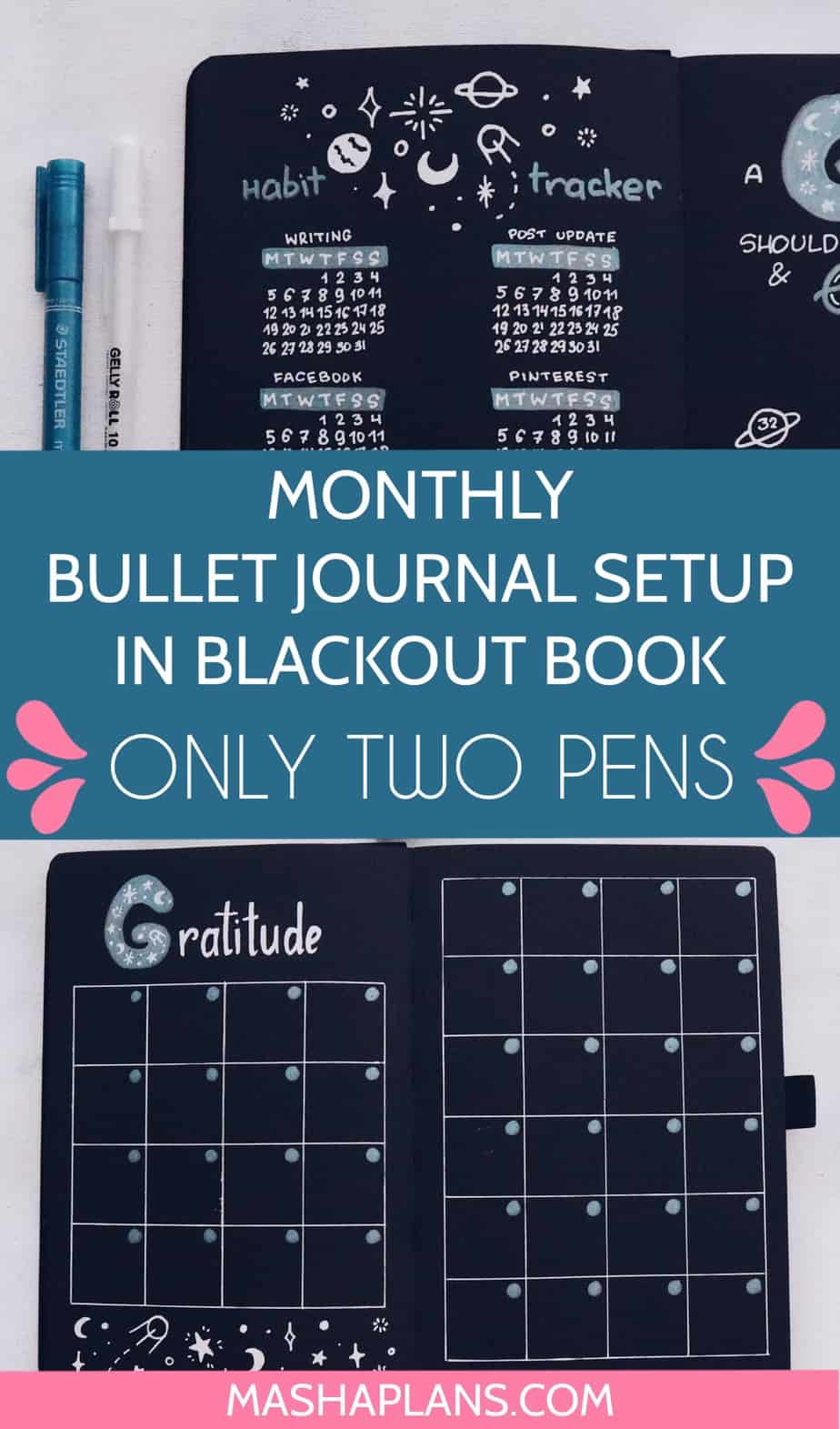 Blackout Book and JUST TWO Pens | August Plan With Me | Masha Plans