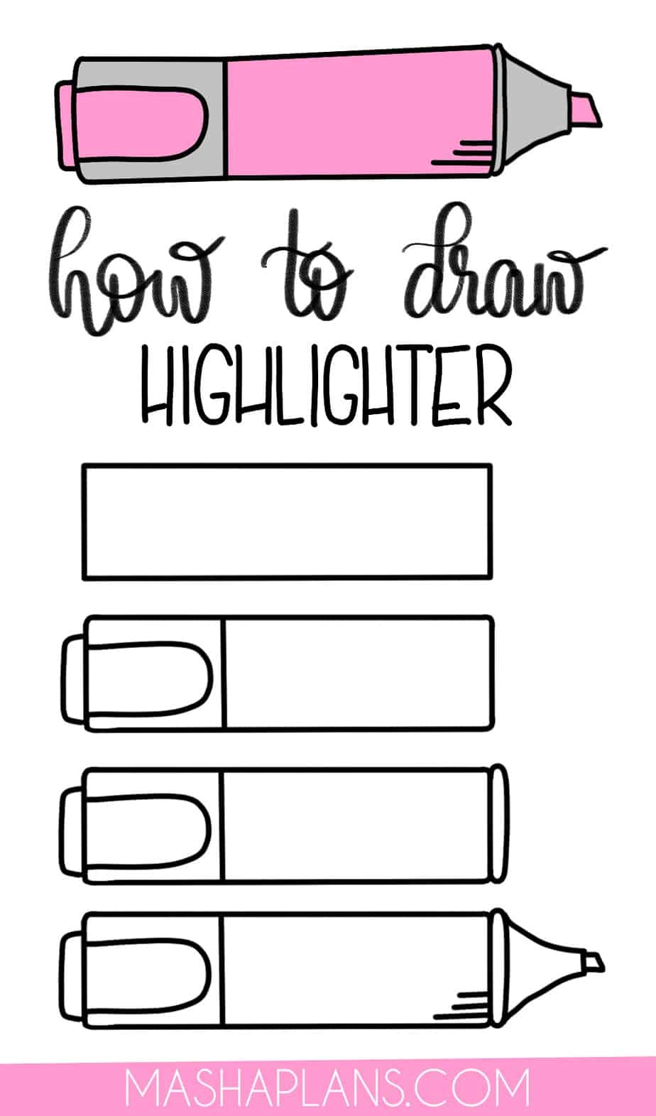 Cute and Easy Stationery Bullet Journal Doodles, Highlighter | Masha Plans