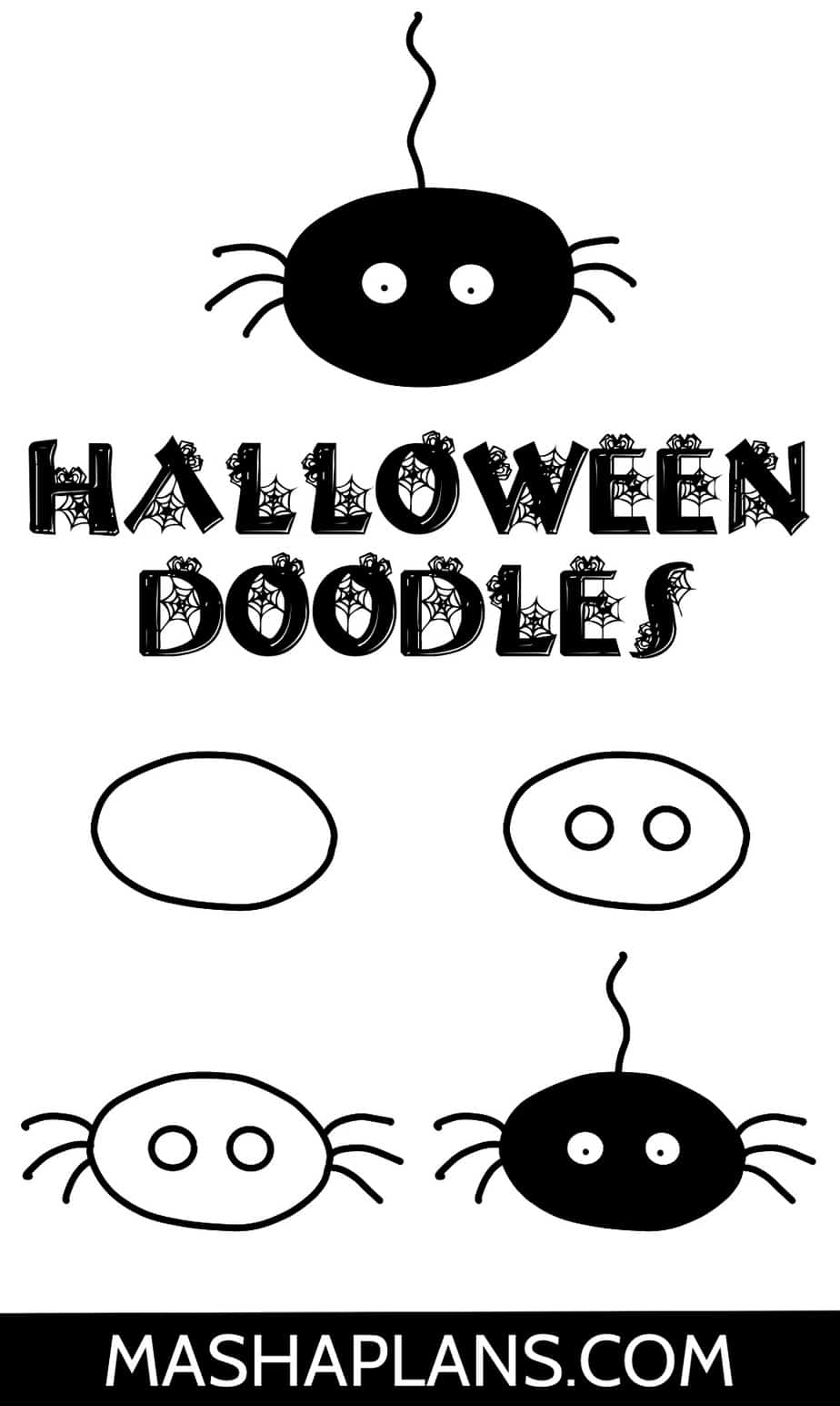 Halloween Bullet Journal Doodles, Spider | Masha Plans