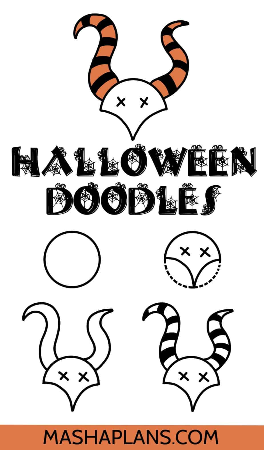 Halloween Bullet Journal Doodles, A Scull | Masha Plans