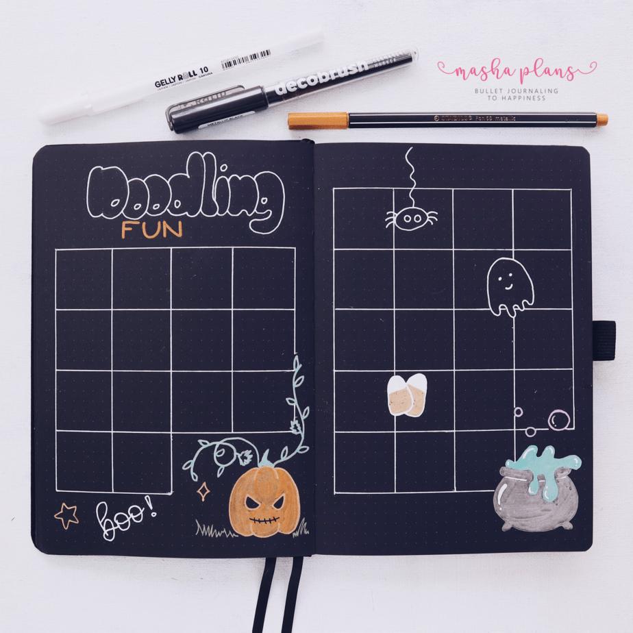 Halloween Bullet Journal Setup | October Plan WIth Me, Doodling | Masha Plans