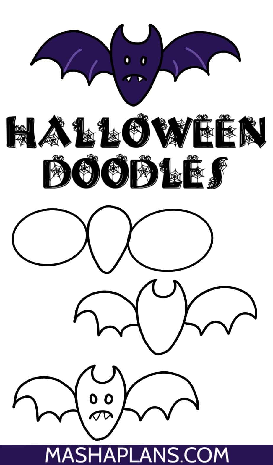 Halloween Bullet Journal Doodles, A Bat | Masha Plans