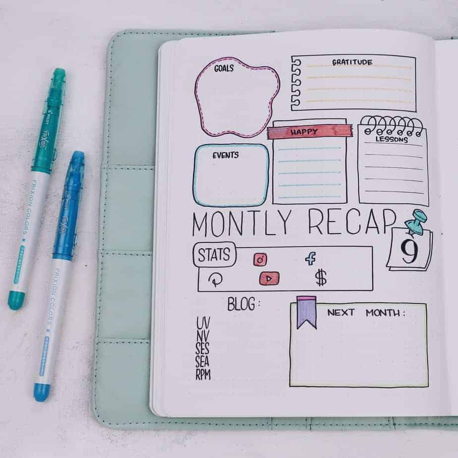 Back To School Bullet Journal Setup, monthly recap | Masha Plans