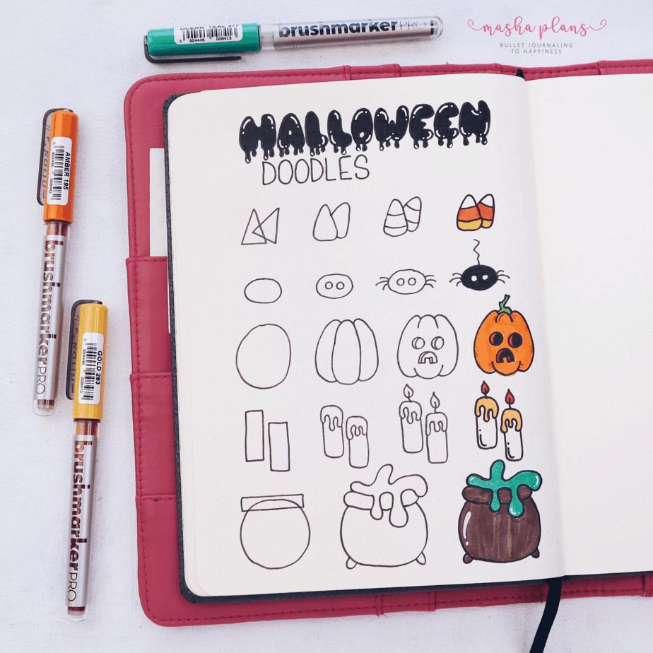 Halloween Bullet Journal Setup | October Plan WIth Me, Halloween Doodles | Masha Plans