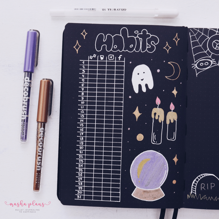Halloween Bullet Journal Setup | October Plan WIth Me, Habit Tracker | Masha Plans