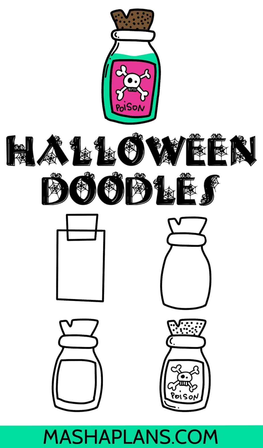 Halloween Bullet Journal Doodles, Bottle of Poison | Masha Plans