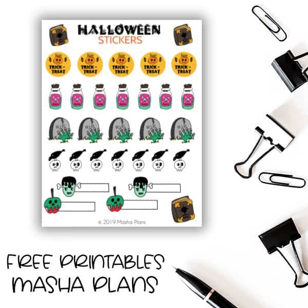 Free Printables - Halloween Stickers | Masha Plans