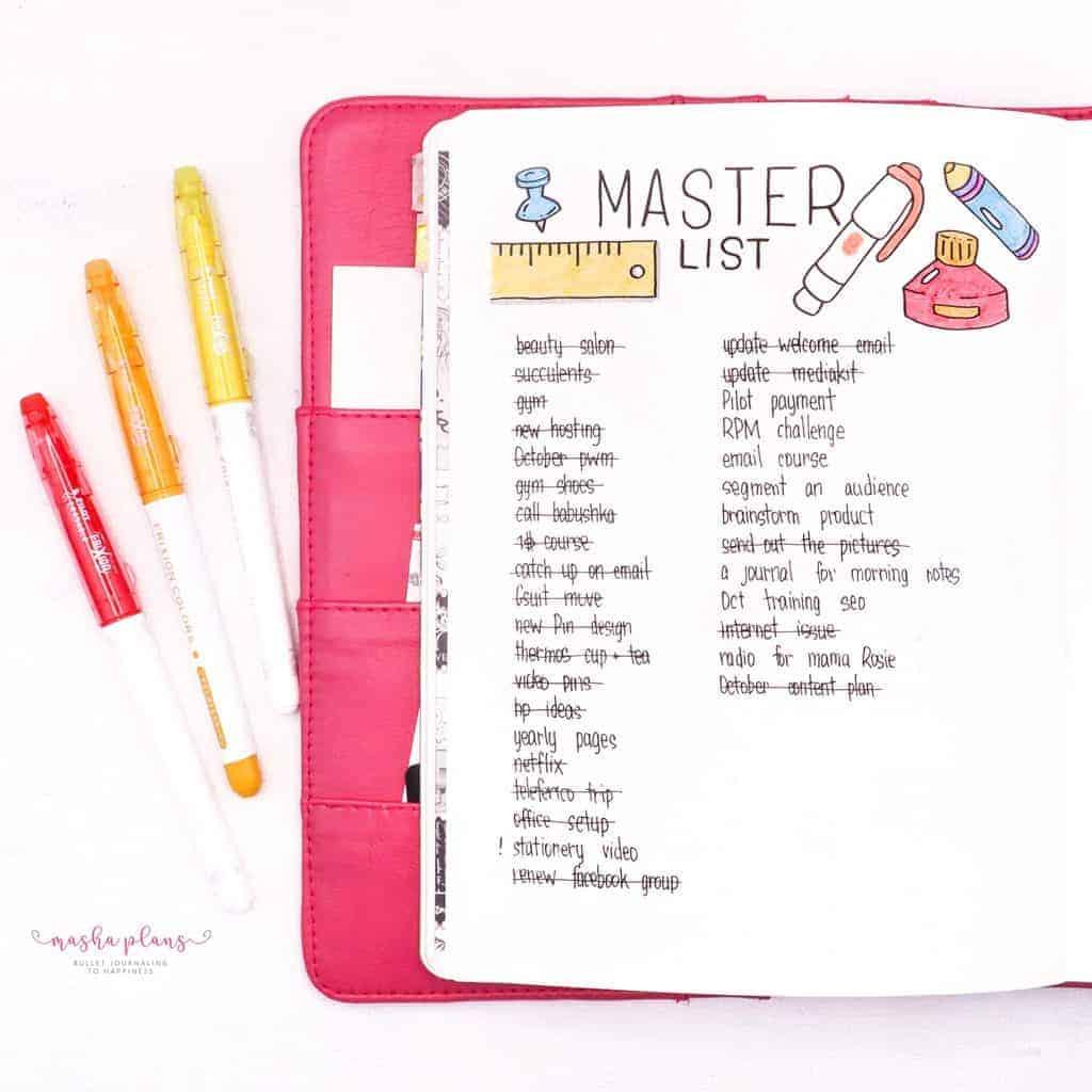 Back To School Bullet Journal Theme - master list | Masha Plans