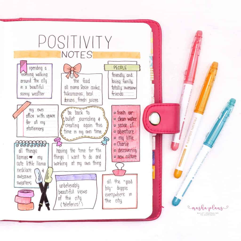 Back To School Bullet Journal Theme - positivity notes | Masha Plans