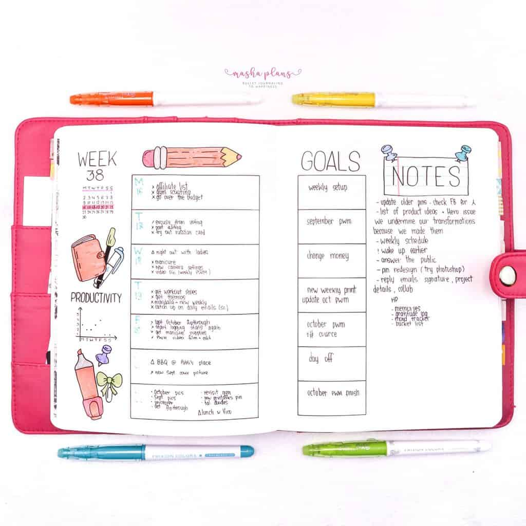 Back To School Bullet Journal Theme - weekly spread   Masha Plans
