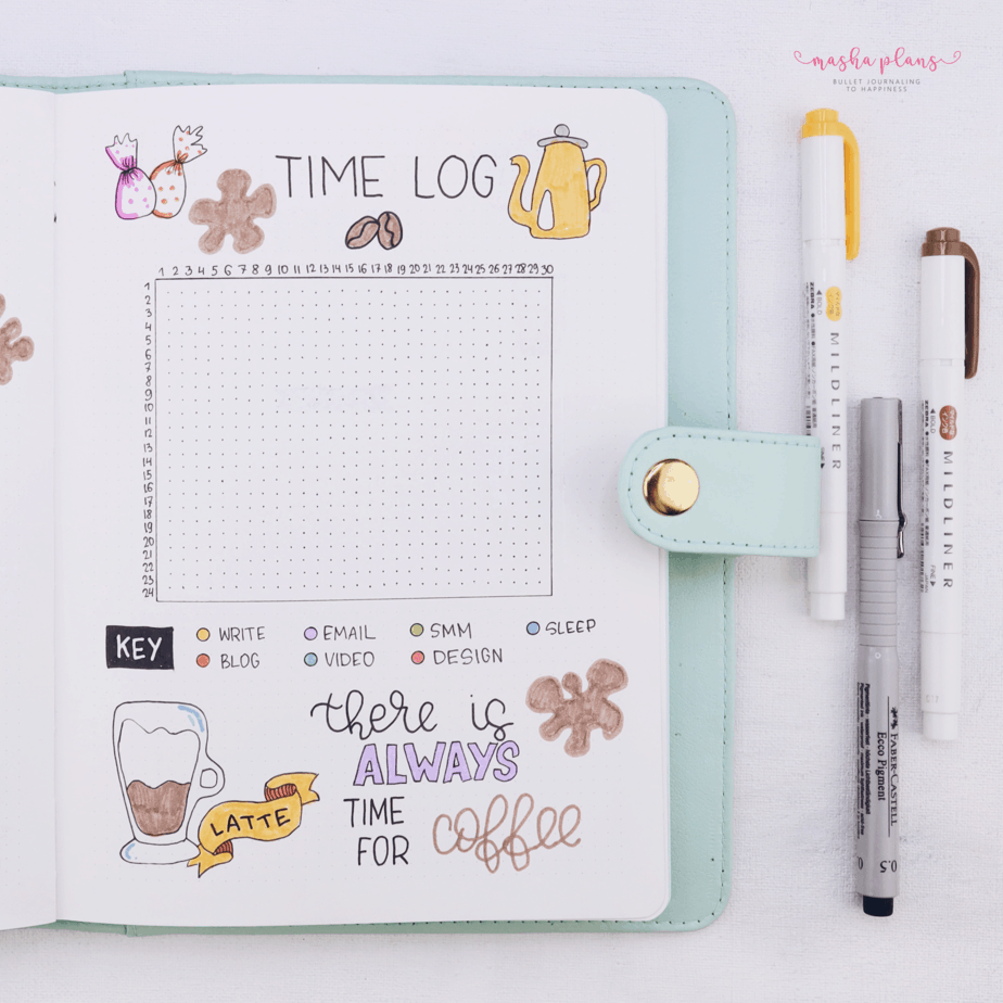 27 Coffee Bullet Journal Theme Inspirations & My November Plan With Me, Time Log | Masha Plans