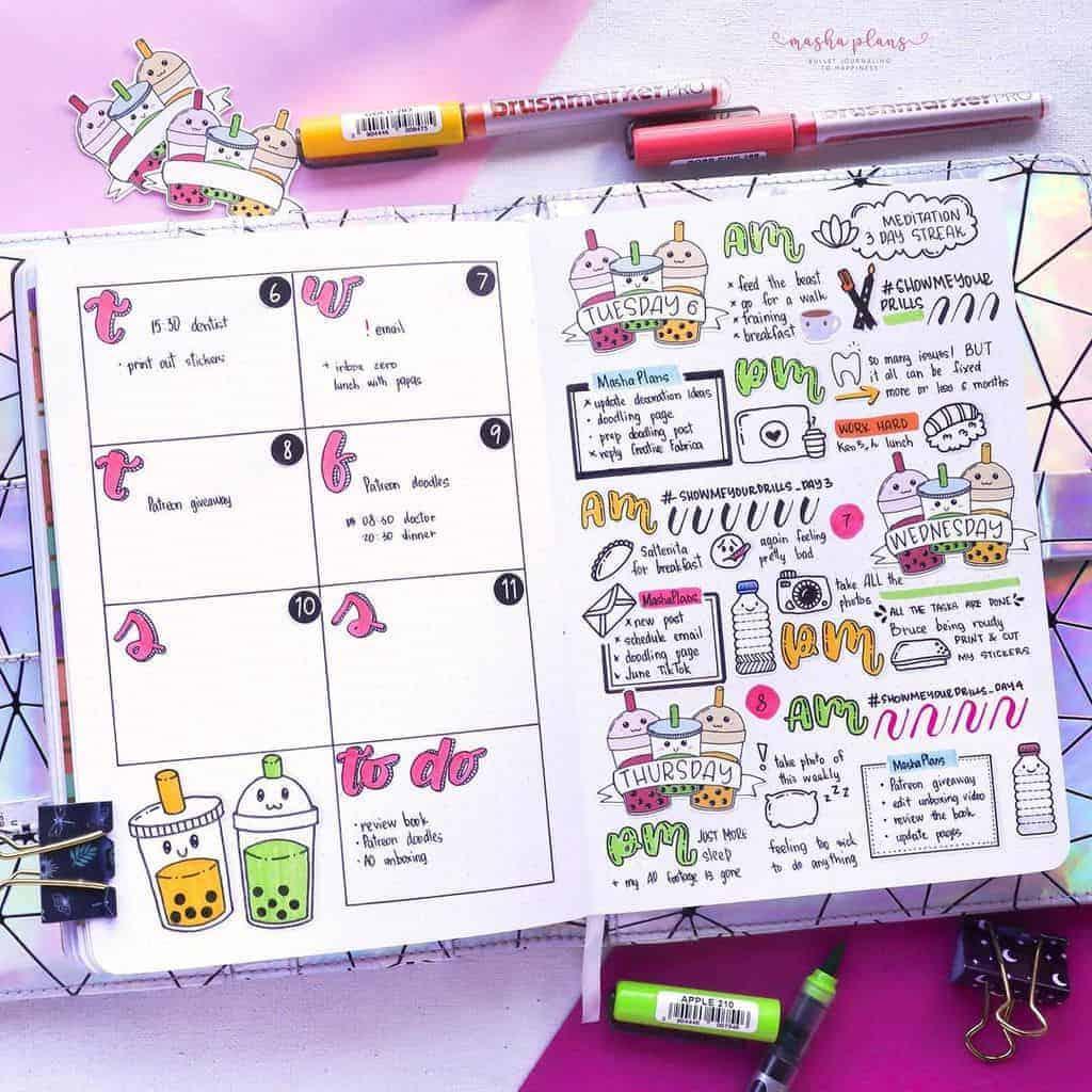 Sketchnote Bullet Journal Weekly Spread | Masha Plans