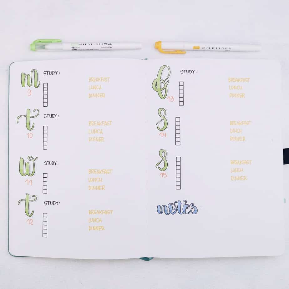 Why Use Your Bullet Journal For School and 7 Page Ideas, Weekly Log | Masha Plans