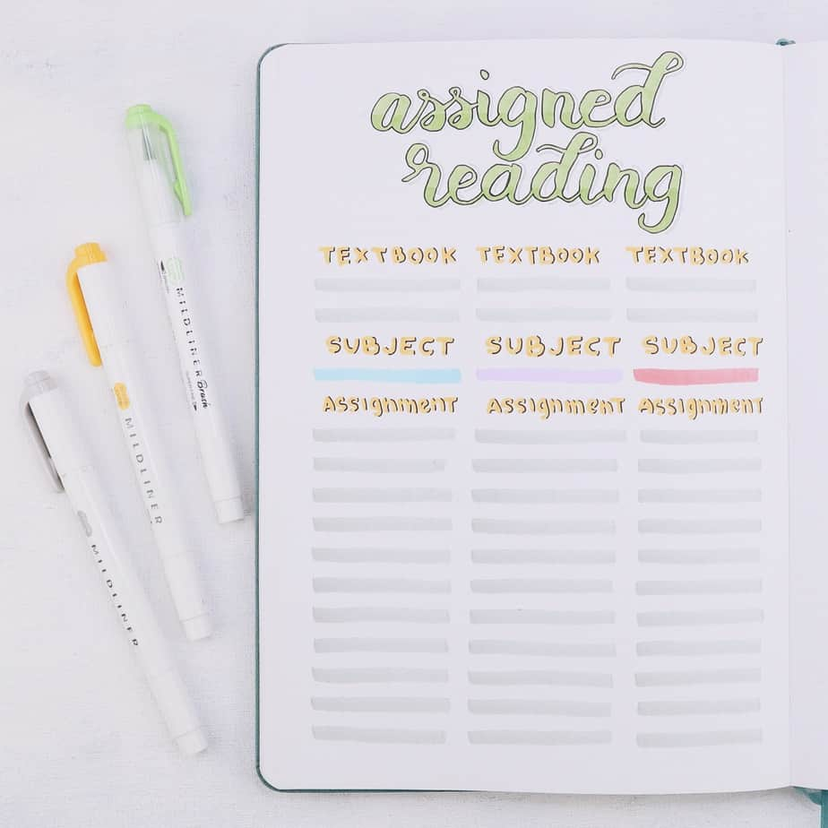 Why Use Your Bullet Journal For School and 7 Page Ideas, Assigned Reading | Masha Plans
