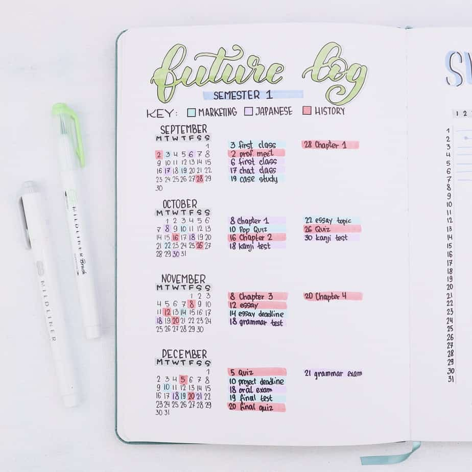 Why Use Your Bullet Journal For School and 7 Page Ideas, Semester Overview | Masha Plans