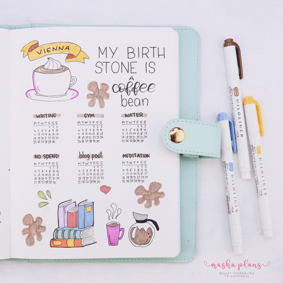 27 Coffee Bullet Journal Theme Inspirations & My November Plan With Me, Habit Tracker | Masha Plans
