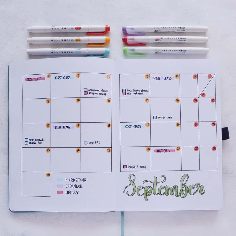 Why Use Your Bullet Journal For School and 7 Page Ideas, Monthly Log | Masha Plans