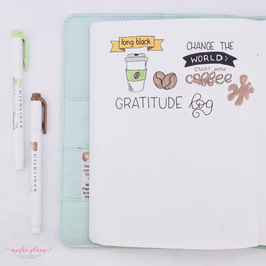 27 Coffee Bullet Journal Theme Inspirations & My November Plan With Me, Gratitude Log | Masha Plans