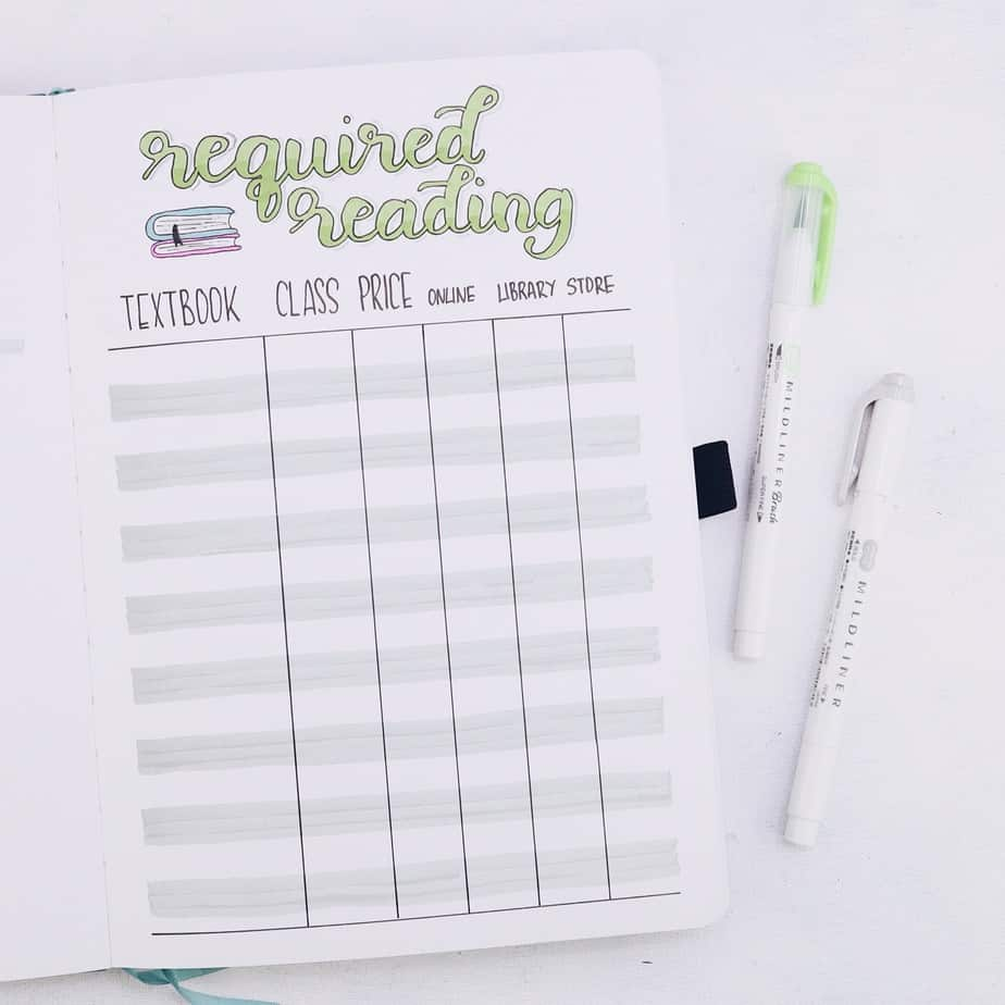 Why Use Your Bullet Journal For School and 7 Page Ideas, Required Reading | Masha Plans