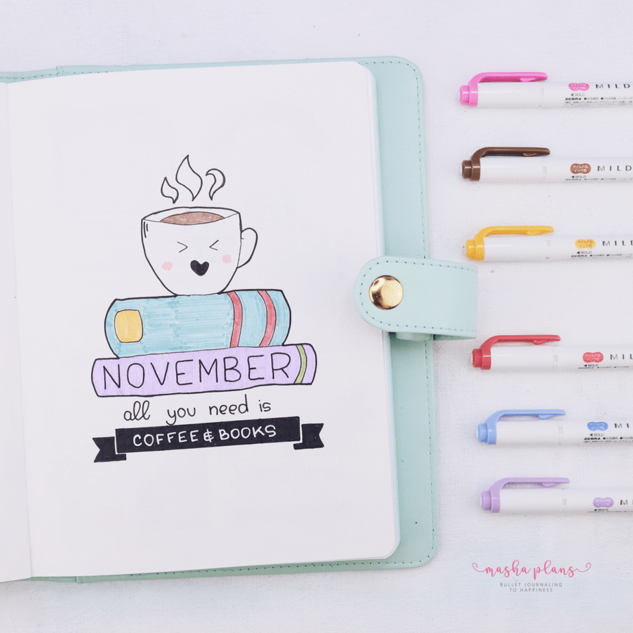 27 Coffee Bullet Journal Theme Inspirations & My November Plan With Me, Cover Page   Masha Plans
