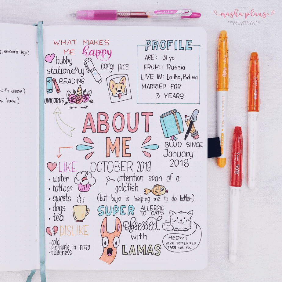 31 Days of Bullet Journal Page Ideas | Day 1 About Me Page | Masha Plans