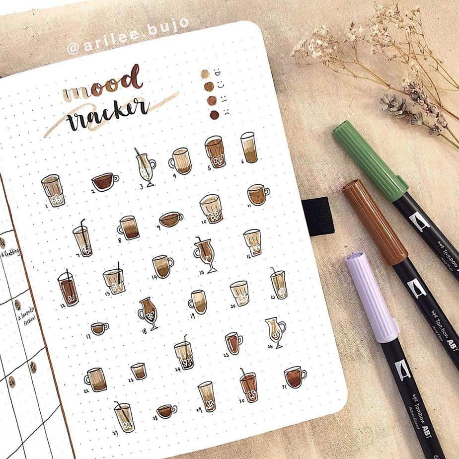 27 Coffee Bullet Journal Theme Inspirations & My November Plan With Me, Spread by @arilee.bujo | Masha Plans