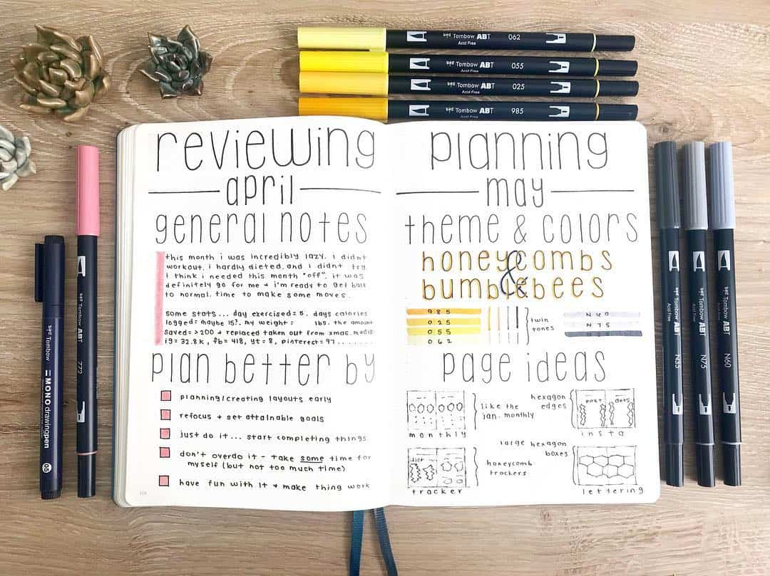 Why You Need A Monthly Review Page In Your Bullet Journal, spread by @bluenittany l | Masha Plans