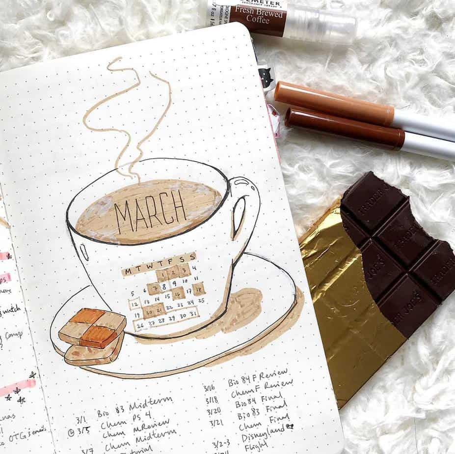27 Coffee Bullet Journal Theme Inspirations & My November Plan With Me, Spread by @bujo.with.tea | Masha Plans