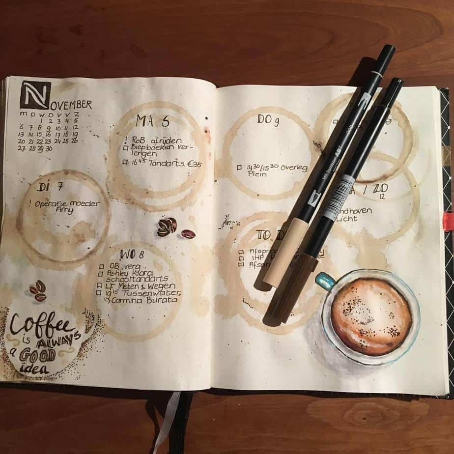 27 Coffee Bullet Journal Theme Inspirations & My November Plan With Me, Spread by @bujolan | Masha Plans