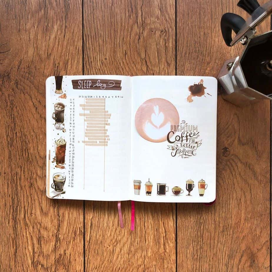 27 Coffee Bullet Journal Theme Inspirations & My November Plan With Me, Spread by @bujosonia | Masha Plans
