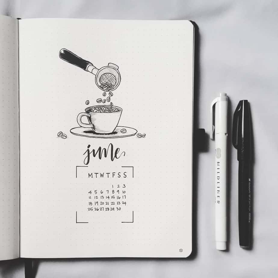 27 Coffee Bullet Journal Theme Inspirations & My November Plan With Me, Spread by @bujowithdaya | Masha Plans