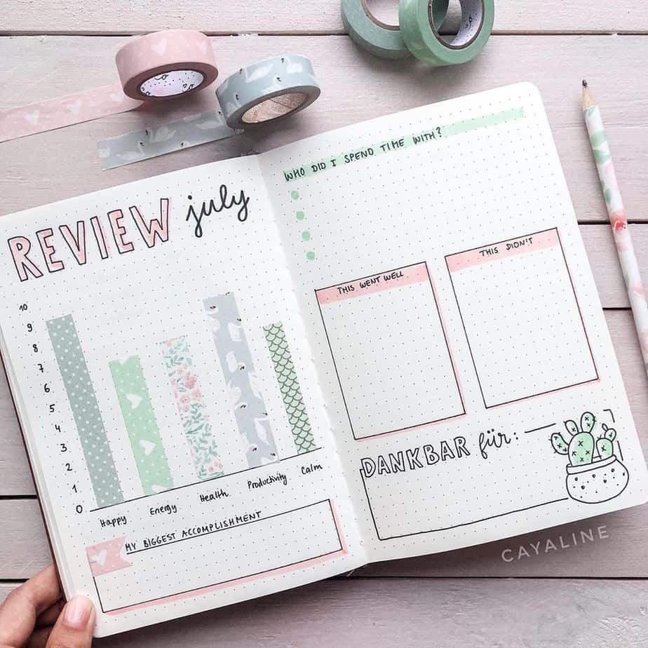 Why You Need A Monthly Review Page In Your Bullet Journal, spread by @cayaline | Masha Plans