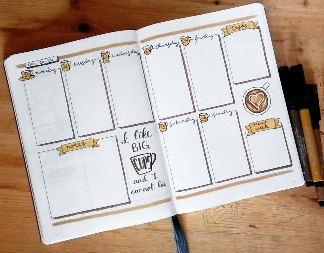 27 Coffee Bullet Journal Theme Inspirations & My November Plan With Me, Spread by @crafter.pillar | Masha Plans
